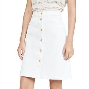 FRAME Vintage Boot High Waist Denim Skirt White 27